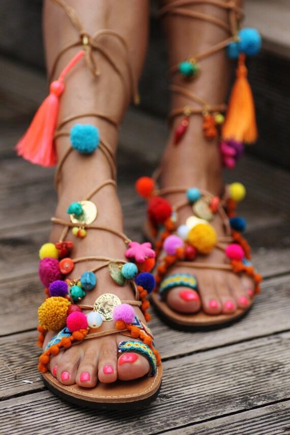 Pom Pom Gladiator Tie Leg Sandals - Brown 37 visit new online with mastercard for sale pkXoLt