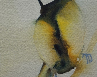 Original watercolor bird bluetit tit 2