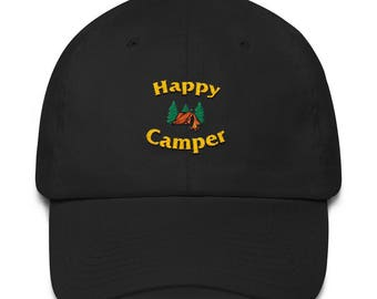 Happy Camper Embroidered Dad Hat, Outdoors Hat, Hiking Hat, Funny Hat