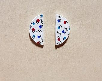Geometric Earrings (red, teal & dark blue)