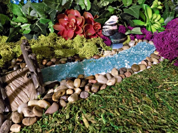 diy fairy garden river gnome garden terrarium planter kit pond river garden accessories miniature fairy accessories bubbling blue from - Fairy Garden Accessories