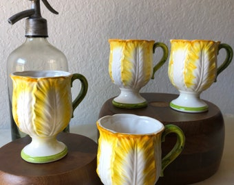 Vintage Majolica Yellow Cabbage Mugs, Ceramic Porcelain, Marked #7124 [Set of 4]