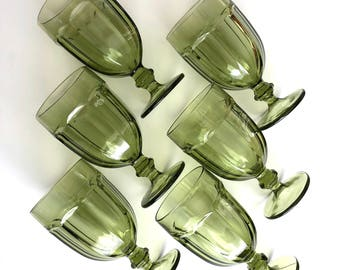 Green Vintage Glassware  -  Large Libbey Duratuff Goblets, Set of 6