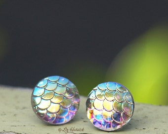Iridescent Mermaid Scale Studs on Stainless Steel Posts, Shimmer Earrings