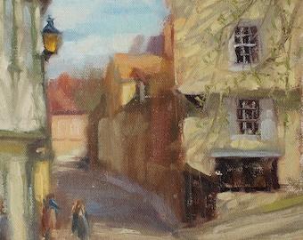"Elm Hill, Norwich. Original oil painting. 8""x10"""