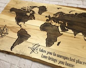 Custom Sign Wood Island World Map Wall Art Travel Map Gifts