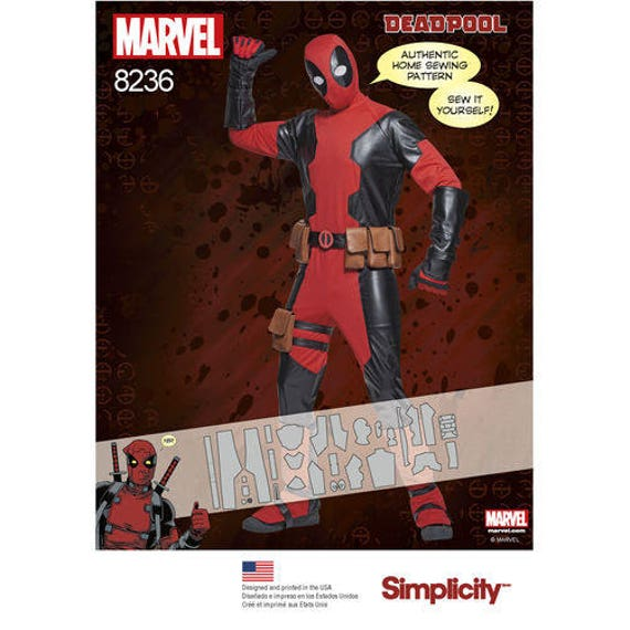 Deadpool Antihero Costume Simplicity Pattern 8236 Cosplay Comic Con Marvel Comics hood gloves boot covers Menu0027s Sz XSu2013XL ...  sc 1 st  Etsy Studio : costume boot tops  - Germanpascual.Com