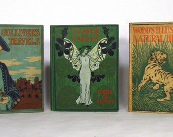 1890's Henry Altemus Company books - Gulliver's Travels - Flower Fables - Illustrated Natural History