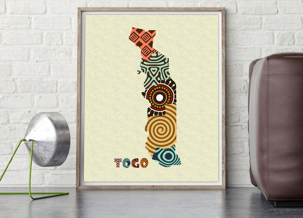 Togo Map Art Print Wall Decor Togo Poster Lom Togo West Africa