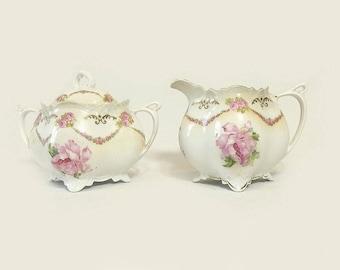 MZ Austria Habsburg Creamer & Sugar Bowl Set, Antique Moritz Zdekauer Porcelain Pink Roses, Victorian Cottage Chic Tableware