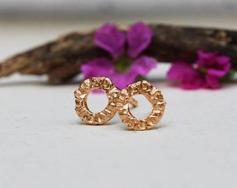 Rose gold earrings, Gold Post Earrings, Solid Gold Earrings, Boho Gold Jewelry, Boho Gold Earrings, Tiny Stud Earrings, Rustic Earrings, 14k