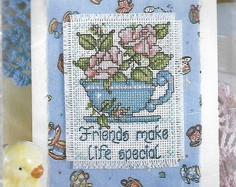 """lot of (5) Design Works """"Special Friends"""" counted cross stitch greeting card kits #894"""