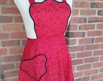 Retro WWII era, scalloped edges, flirty new apron in red and black, made from an updated vintage pattern