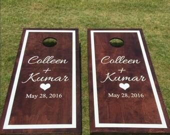 Custom Monogram Wedding Cornhole Boards - Wood Stain Heart with Couple Names