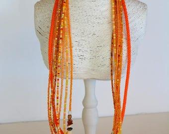 Orange, beige MULTISTRAND necklace