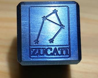Zucati Libra Constellation Logo Die  - Exotic Metals - Engraved - Pips/Numbers