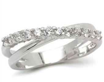 Ring - ref0w108 - rhodium - set CZ over 180 degrees