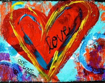 "One Love - 8""x10"" Mixed Media Art Print, Art with Heart, Wedding, Home Decorating, Interior Design, Love"