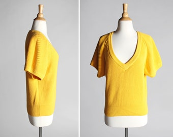 Vintage Sunshine Yellow Deep V Sweater - Top Shirt Knit Rib 1980's Womens V Neck Short Sleeve Raglan 100% Cotton - Size Medium