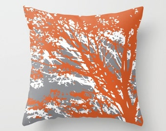 Abstract Tree Branches Pillow Cover / Rust and Grey Pillow Cover / Modern Home Decor / Fall Decor / includes insert