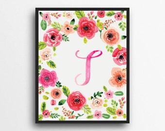 Monogram Letter T Print | Floral Wreath Monogram | Initial Print | Watercolor Floral Print | Digital Download