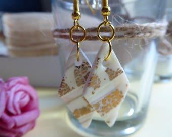 white glazed earrings Pearl polymer clay