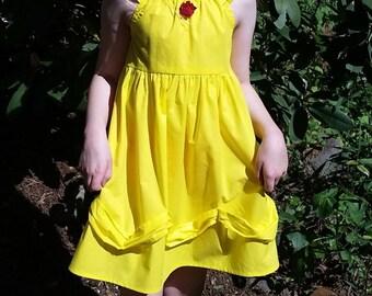 Belle Dress - Beauty and the Beast Inspired Dress - Belle Yellow Ballgown - Cotton Play Dress - Girls Belle Costume - Belle Disneybound