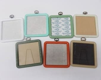 Square Shaped Plastic Needlework Picture Frame Choose from Seven Colors