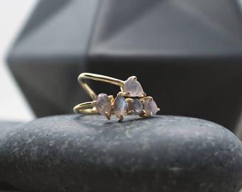 Labradorite Wrap Ring / 14 Karat Gold Vermeil Silver Ring / Gifts for her / Elegant Ring / Unique Wrap Ring / Minimal Ring