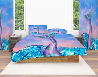 Mermaid Tail Comforter or  Duvet Cover,Twin  Full Queen King, , Rug, Curtains, Throw Pillow Sunset  Sky Ocean
