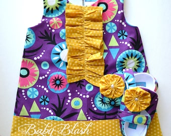Purple Mustard Dress/Shoes Set