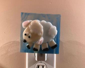 Little Lamb Fused Glass Night Light