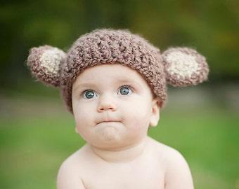 Baby Monkey Hat Crochet - Perfect Newborn Photo Prop or Baby Halloween Costume