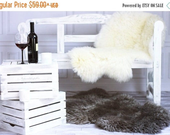 ON SALE Real, Natural, Genuine Creamy White, Gray Sheepskin Rug Scandinavian Design