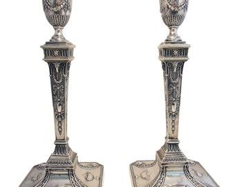 Victorian (1900) Large Pair Solid Sterling Silver English Hallmarked Antique Candlesticks. Rare Adam Style with Rams Heads decoration.