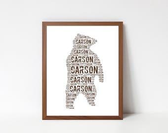 BEAR Art Print - Woodland Nursery Print - Custom Name Art - Bear Room Decor - Woodland Wall Art Print Kids Room - Personalized Typography