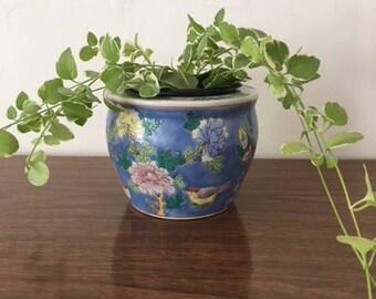 A Floral Porcelain Planter