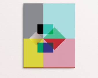 Abstract 01 - Overlay Bright Colours Geometric Art Print