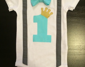 First Birthday Boy Prince Charming Bowtie Bodysuit with One and Suspenders, Cake smash