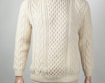 Traditional Merino Aran Sweater Heavyweight, White