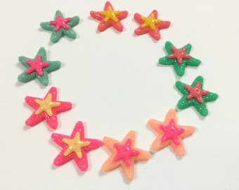 "Lot  of 10 Pieces ~ 35mm (1.5"" Width)  Shiny Colorful Starfish Resin Cabochon, Flat back, Kawaii, for  DIY projects, crafts, scrapbooking"