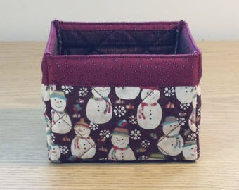 Quilted Fabric Box (XBX05) Snowmen