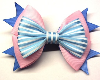 Pink blue girl bow Girl pink hairbow Pink baby Girls hair bow For baby bow striped Alligator clip Girl hairbow Hair bows for girls hair clip