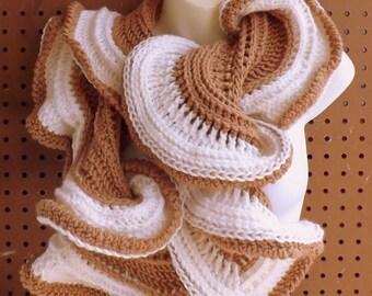 Cowl Scarf Crochet Pattern,  Infinity Scarf Pattern Crochet Scarf Pattern,  Crochet Cowl Pattern,  Latte Crochet Ruffle Scarf