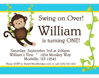 Mod Monkey Invitation - Blue and Yellow Stripes and Vine Boy Mod Monkey Personalized Birthday Party Invite - a Digital Printable File