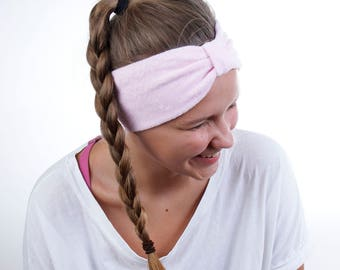 Narrow Beauty Routine Turban Head Wrap in Rose Pink Terry Cloth