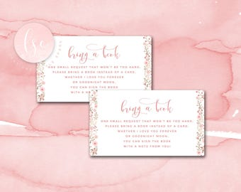 Baby Shower Bring a Book Card, Printable Baby Registry Card, Small Enclosure or Insert, Baby Shower Card, Baby Shower Book Card