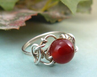 Wire Wrapped Bead Ring ~ Sterling Silver Bead Ring ~ Bead Ring ~ Silver Bead Ring ~ Red Bead Ring ~ Wire Ring ~ Wire Wrapped Ring ~ Size 6