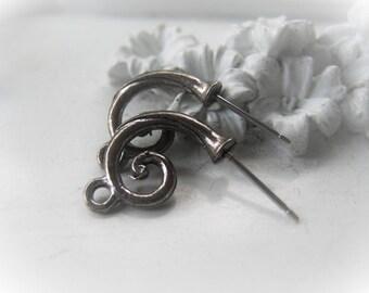 Silver Earring Post Pair Scroll Earring Pair Item No. 1748 7021
