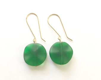Green and Gold Drop Earrings, Vintage Earrings, Drop Earrings, Gold Earrings